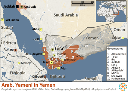 Map of Arab, Yemeni in Yemen
