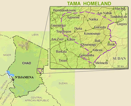 Map of Tama in Chad