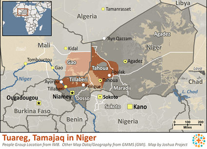 Map of Tuareg, Tamajaq in Niger