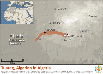 Map of Tuareg, Algerian in Algeria