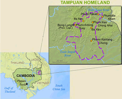 Map of Tampuan in Cambodia