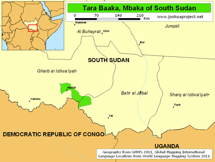 Map of Tara Baaka, Mbaka in South Sudan
