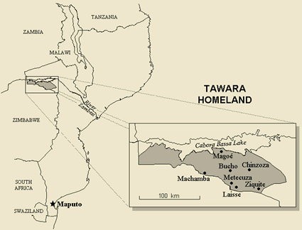 Map of Tawara in Mozambique