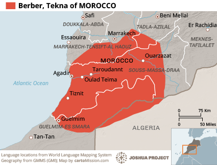 Map of Berber, Tekna in Morocco