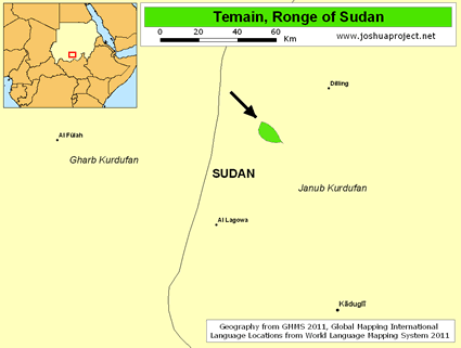 Map of Temain, Ronge in Sudan