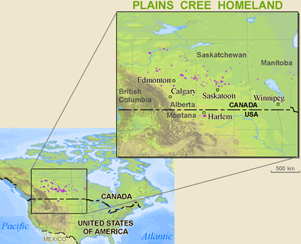Map of Cree, Plains in United States