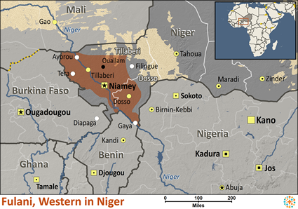 Map of Fulani, Western in Niger