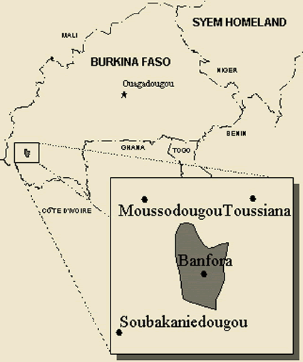 Map of Karaboro, Western in Burkina Faso