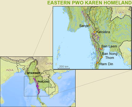 Map of Karen, Pwo Eastern in Myanmar (Burma)