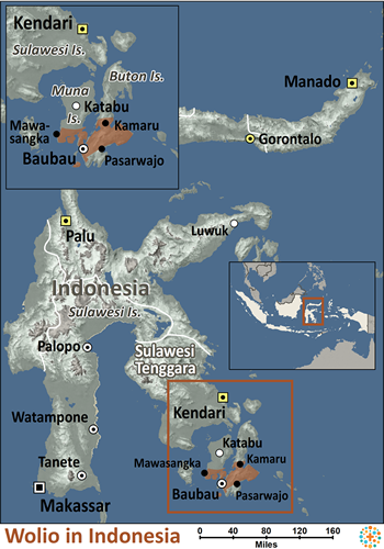 Map of Wolio in Indonesia