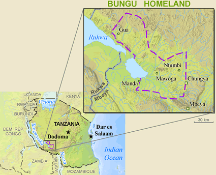 Map of Bungu in Tanzania
