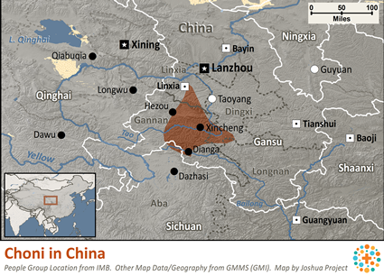 Map of Choni in China