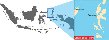 Map of Tidore in Indonesia
