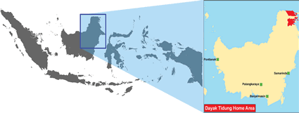Map of Dayak Tidung in Indonesia