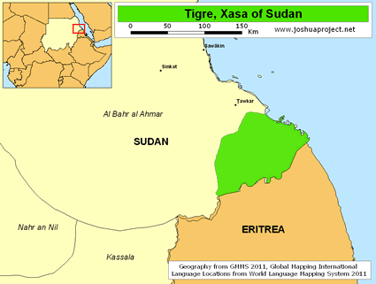 Map of Tigre, Xasa in Sudan