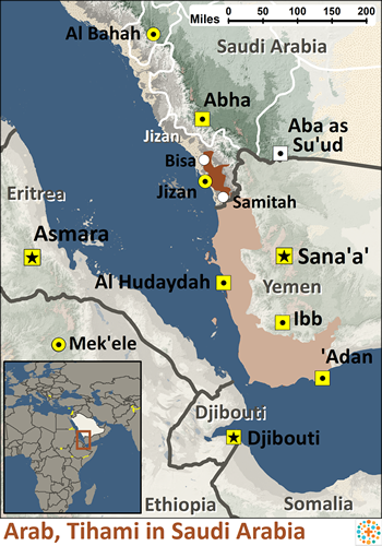 Map of Arab, Tihami in Saudi Arabia
