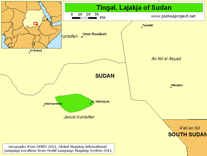 Map of Tingal, Lajakja in Sudan