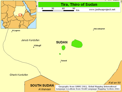 Map of Tira, Thiro in Sudan