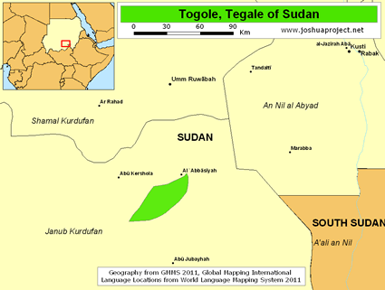 Map of Togole in Sudan
