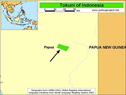 Map of Tokuni in Indonesia
