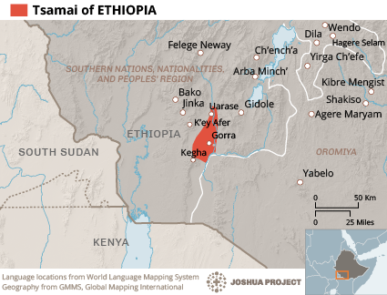 Map of Tsamai in Ethiopia