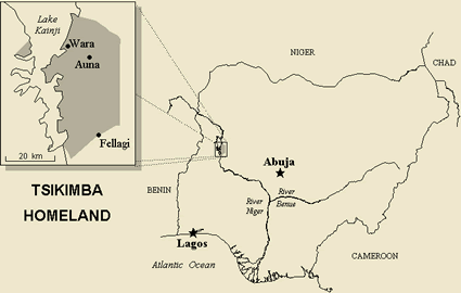 Map of Auna-Agaraiwa Kambari in Nigeria