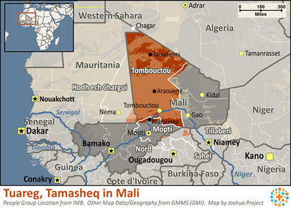 Map of Tuareg, Tamasheq in Mali
