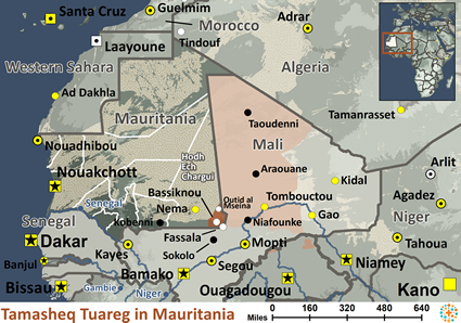 Map of Tuareg, Tamasheq in Mauritania