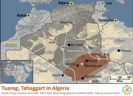 Map of Tuareg, Tahaggart in Algeria