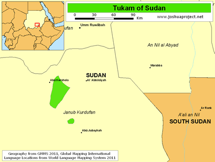 Map of Tukam in Sudan