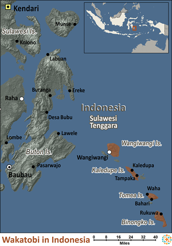 Map of Wakatobi in Indonesia