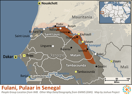 Map of Fulani, Pulaar in Senegal