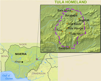 Map of Tula in Nigeria