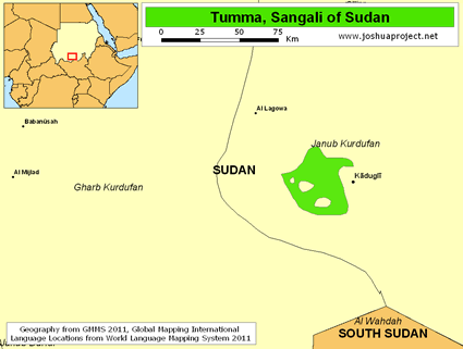 Map of Tumma in Sudan