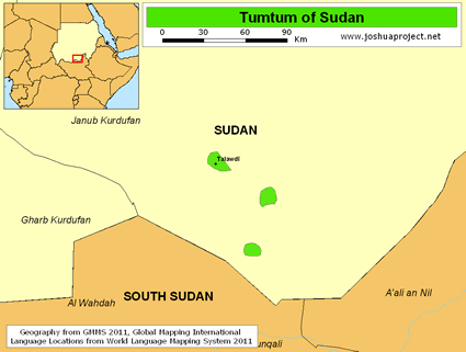 Map of Tumtum in Sudan