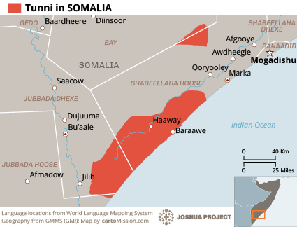 Map of Tunni in Somalia