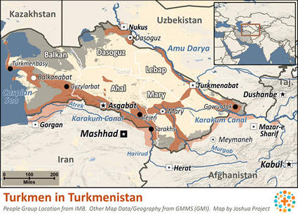Map of Turkmen in Turkmenistan