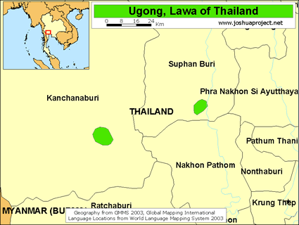 Map of Ugong in Thailand