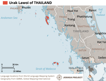Map of Urak Lawoi in Thailand