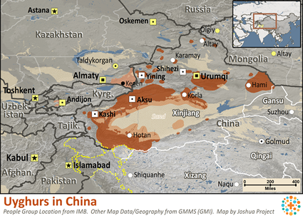 Map of Uyghur in China
