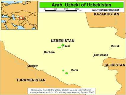Map of Arab, Uzbeki in Uzbekistan