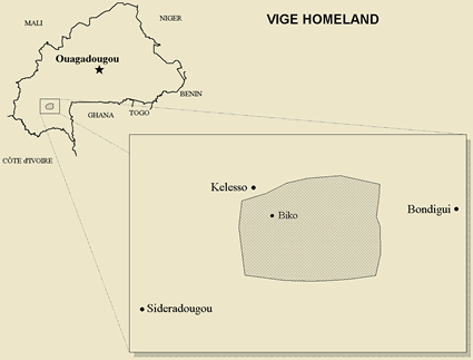Map of Vige, Viemo in Burkina Faso