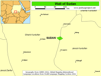Map of Wali in Sudan