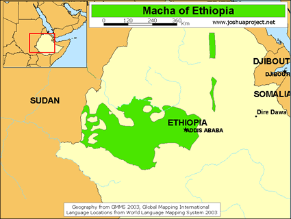 Map of Oromo, Wellega / Mecha in Ethiopia