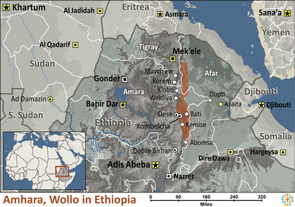 Map of Amhara, Wollo in Ethiopia