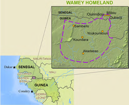 Map of Wamei, Konyagi in Guinea