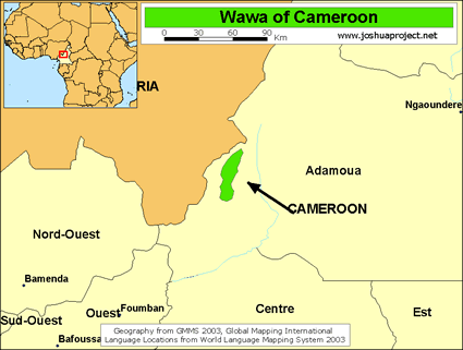 Map of Wawa in Cameroon