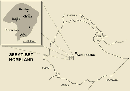 Map of Gurage, West / Chala in Ethiopia