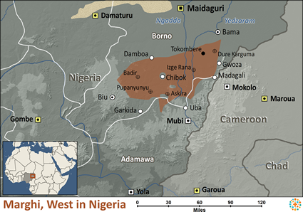 Map of Marghi, West in Nigeria