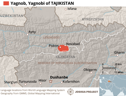Map of Yagnob in Tajikistan